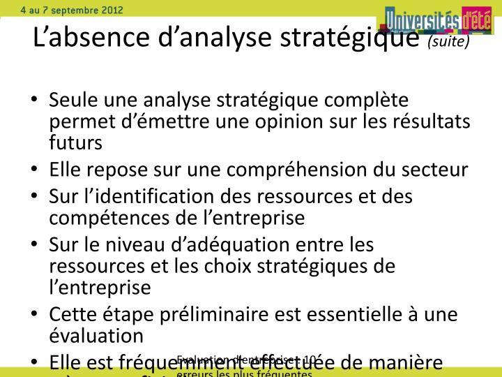 L'absence d'analyse stratégique