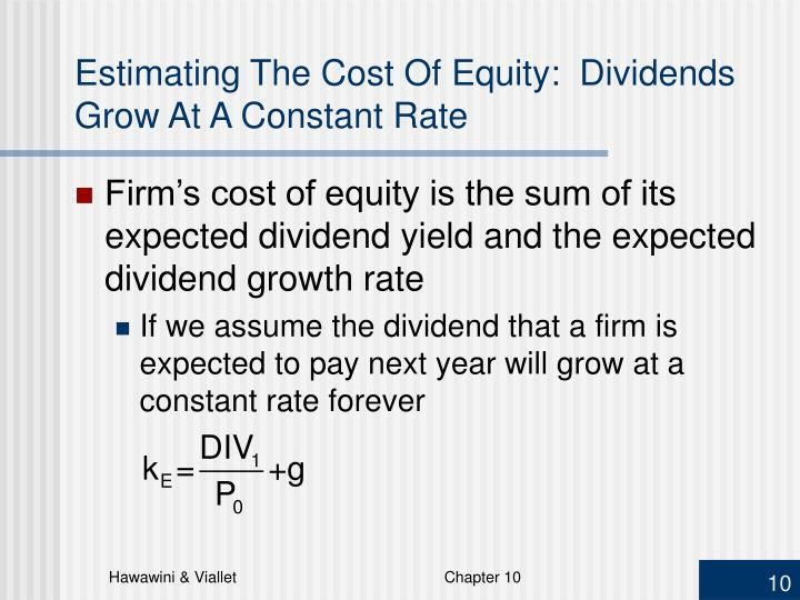 Estimating The Cost Of Equity: