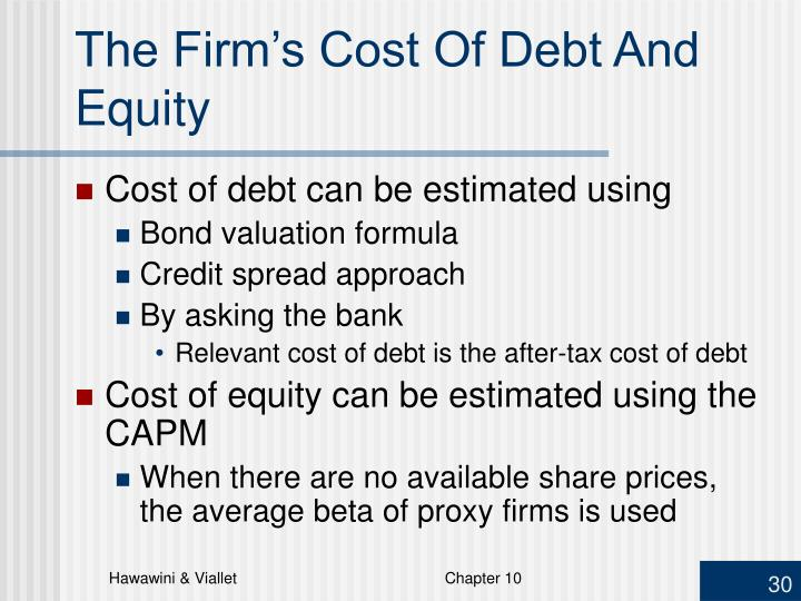 The Firm's Cost Of Debt And Equity