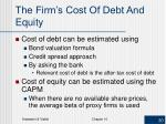 the firm s cost of debt and equity