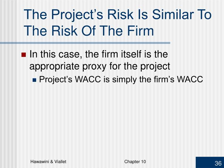 The Project's Risk Is Similar To The Risk Of The Firm