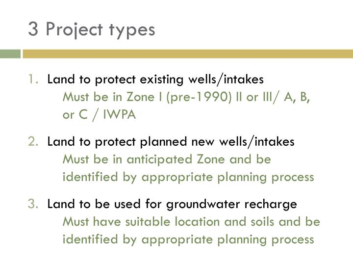3 Project types