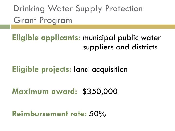 Drinking Water Supply Protection Grant Program