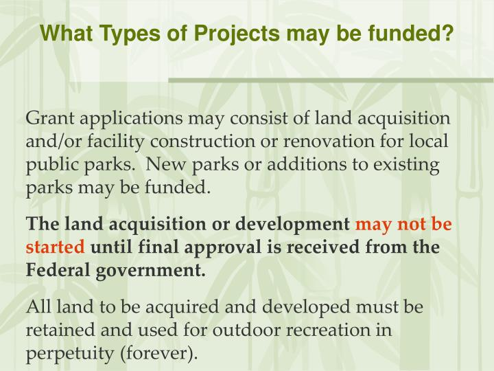 What Types of Projects may be funded?