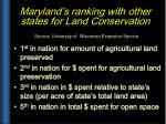 maryland s ranking with other states for land conservation