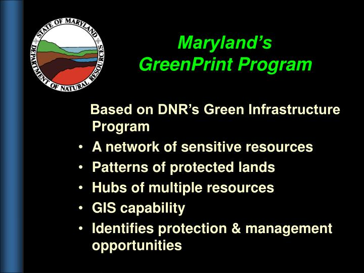 Maryland's GreenPrint Program