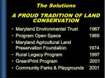 the solutions a proud tradition of land conservation