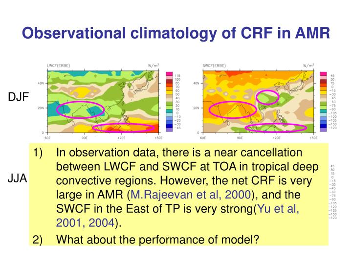 Observational climatology of CRF in AMR