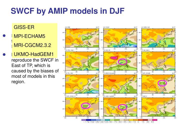 SWCF by AMIP models in DJF