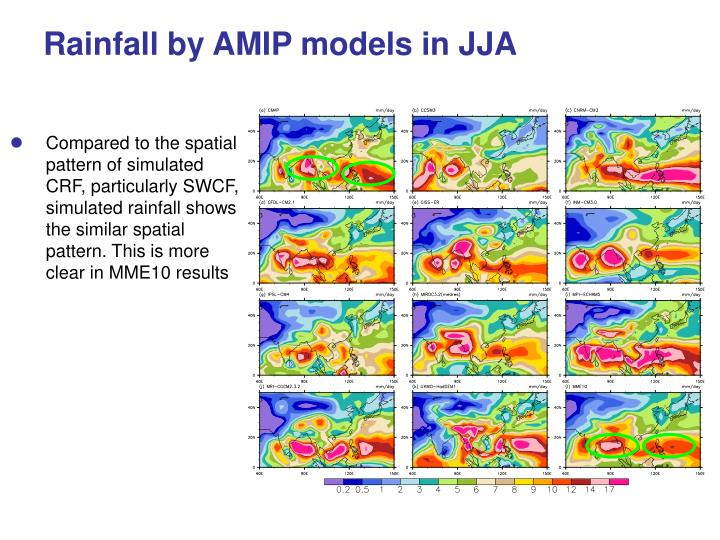 Rainfall by AMIP models in JJA