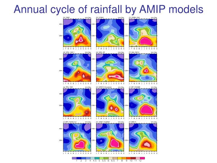 Annual cycle of rainfall by AMIP models