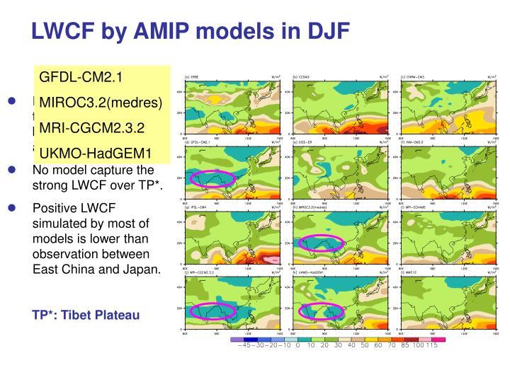 LWCF by AMIP models in DJF