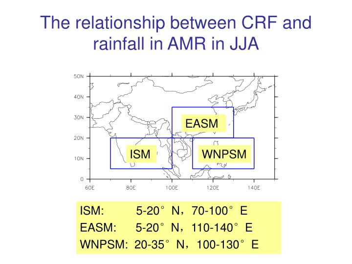 The relationship between CRF and rainfall in AMR in JJA