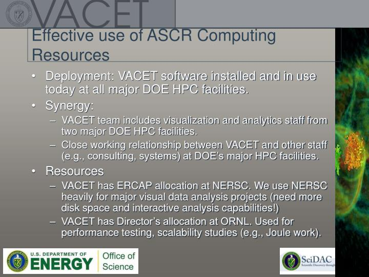 Effective use of ASCR Computing Resources