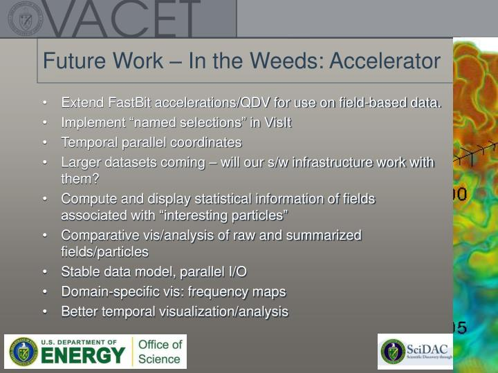 Future Work – In the Weeds: Accelerator