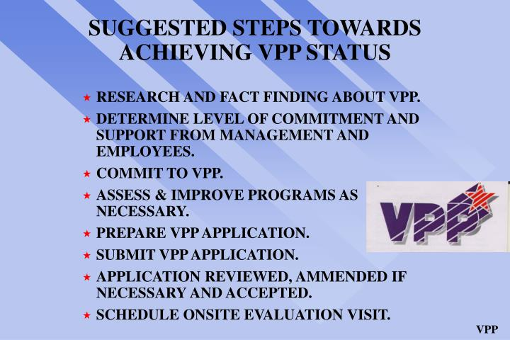 SUGGESTED STEPS TOWARDS ACHIEVING VPP STATUS