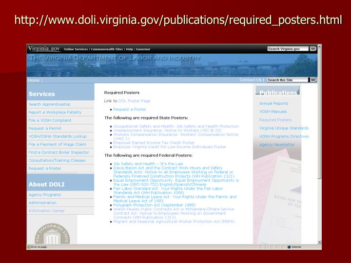 http://www.doli.virginia.gov/publications/required_posters.html