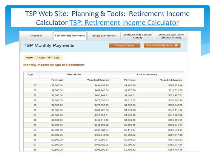TSP Web Site:  Planning & Tools:  Retirement Income Calculator
