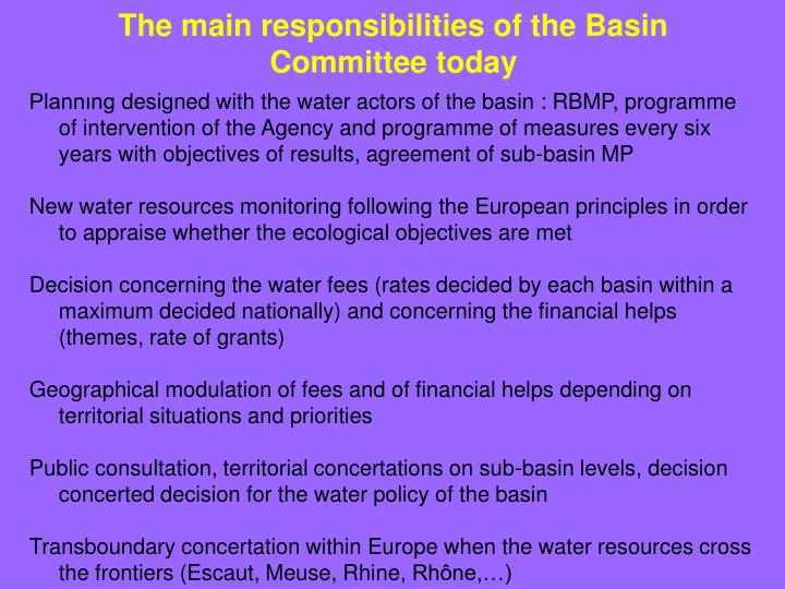 The main responsibilities of the Basin Committee today
