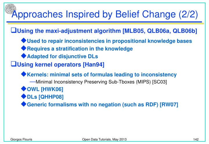 Approaches Inspired by Belief Change (2/2)