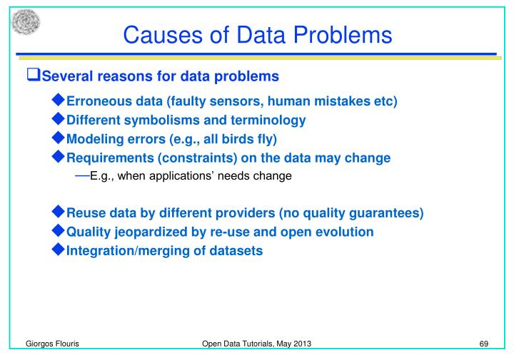 Causes of Data Problems