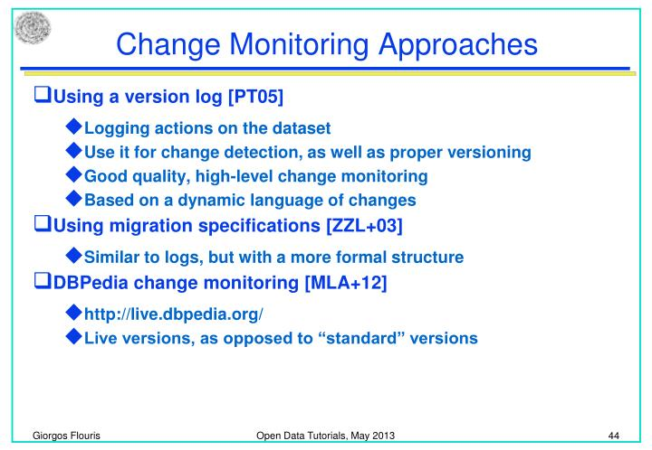 Change Monitoring Approaches