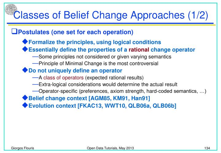 Classes of Belief Change Approaches (1/2)
