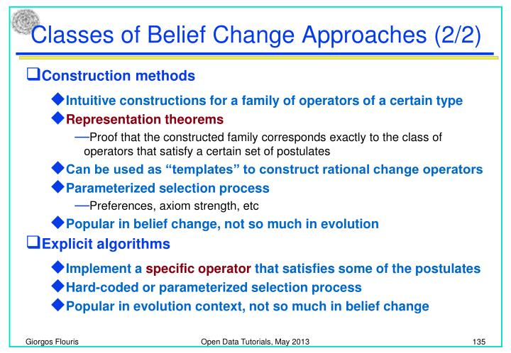 Classes of Belief Change Approaches (2/2)