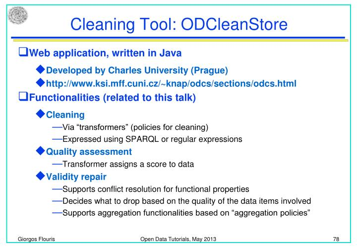 Cleaning Tool: ODCleanStore