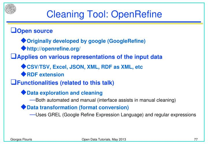 Cleaning Tool: OpenRefine