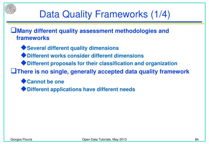 Data Quality Frameworks (1/4)