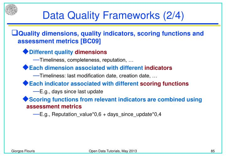 Data Quality Frameworks (2/4)