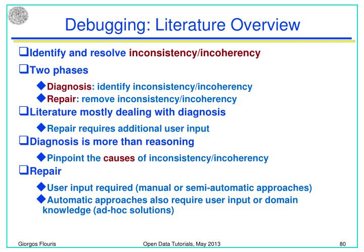 Debugging: Literature Overview