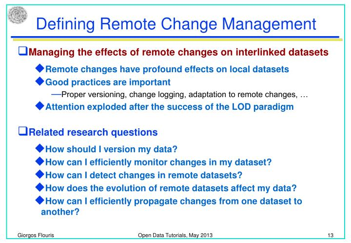 Defining Remote Change Management