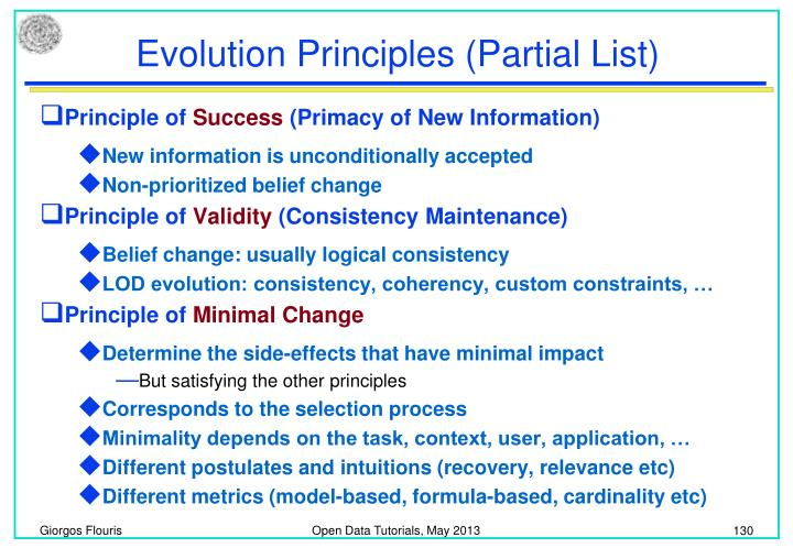 Evolution Principles (Partial List)