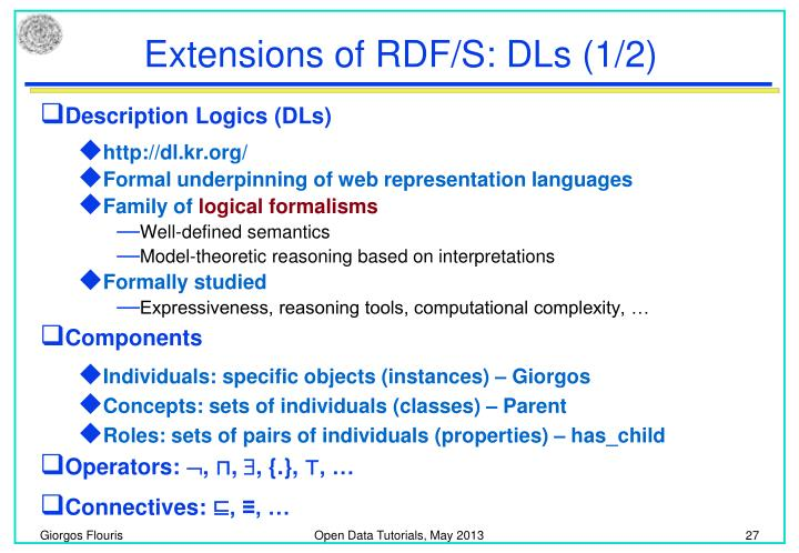 Extensions of RDF/S: DLs (1/2)