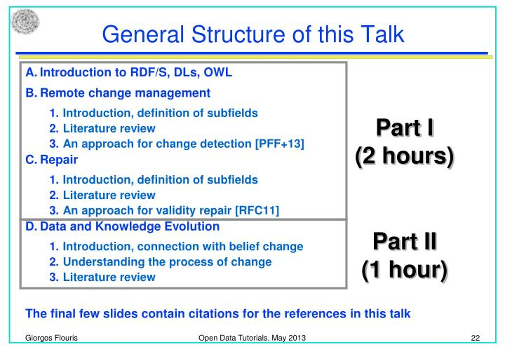 General Structure of this Talk