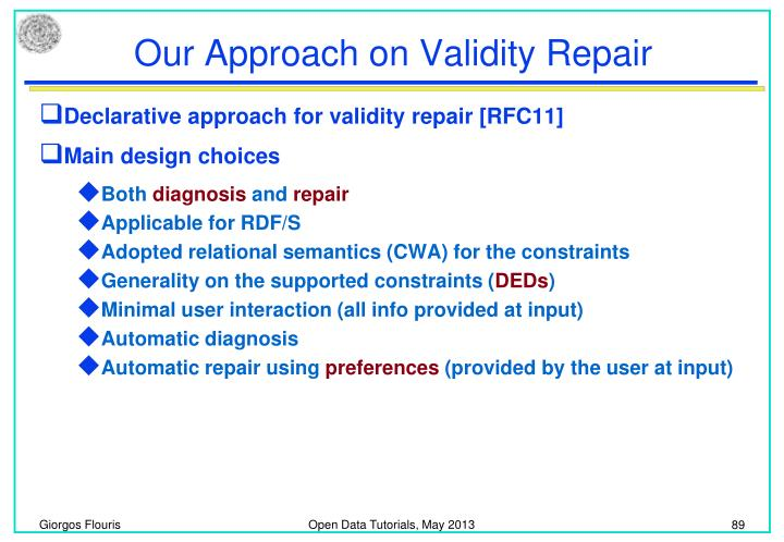 Our Approach on Validity Repair