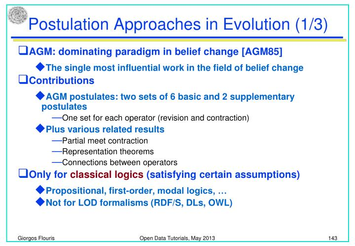 Postulation Approaches in Evolution (1/3)