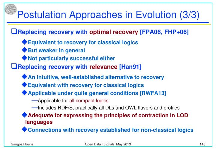 Postulation Approaches in Evolution (3/3)