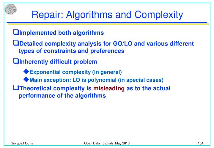 Repair: Algorithms and Complexity