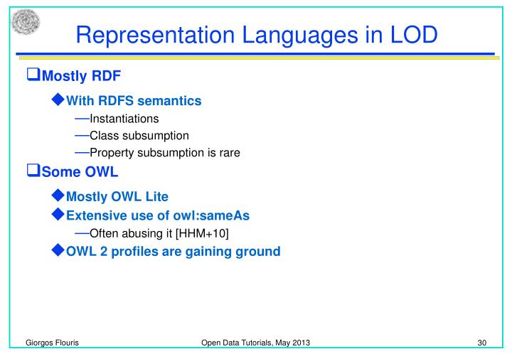 Representation Languages in LOD