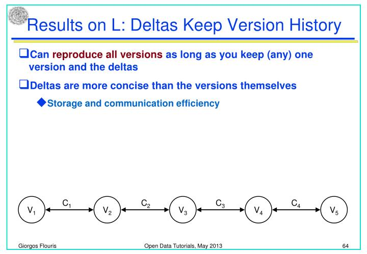 Results on L: Deltas Keep Version History