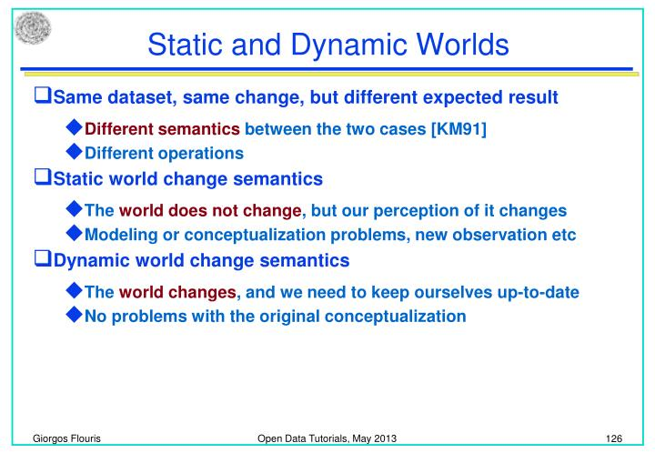 Static and Dynamic Worlds