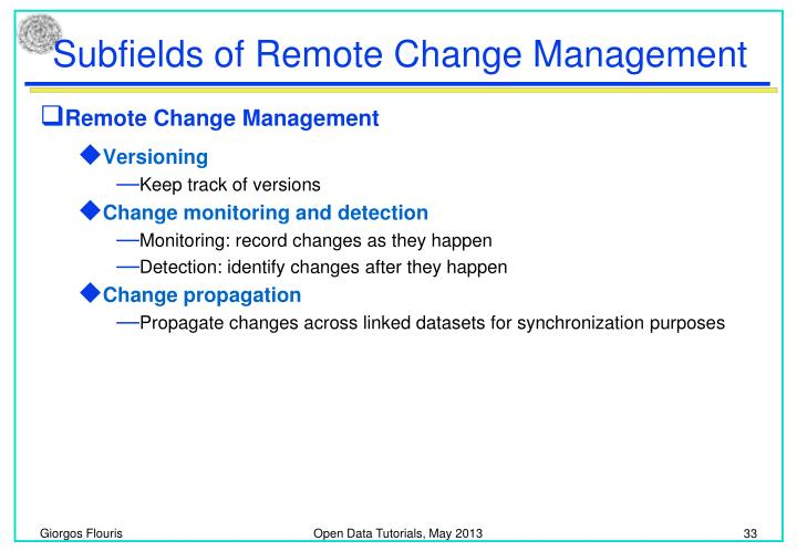 Subfields of Remote Change Management