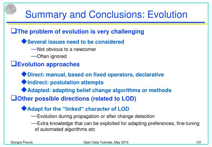 Summary and Conclusions: Evolution