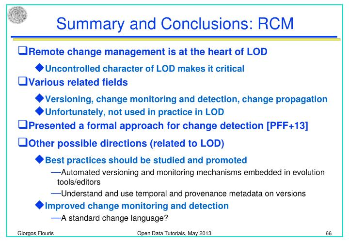 Summary and Conclusions: RCM