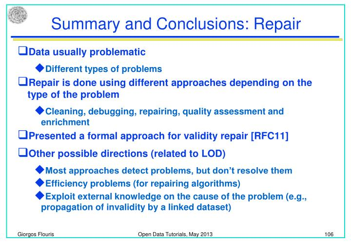 Summary and Conclusions: Repair