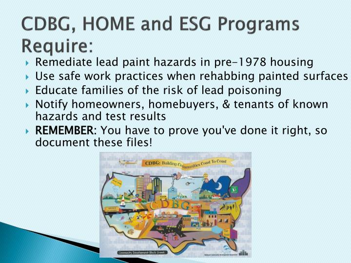 CDBG, HOME and ESG Programs Require: