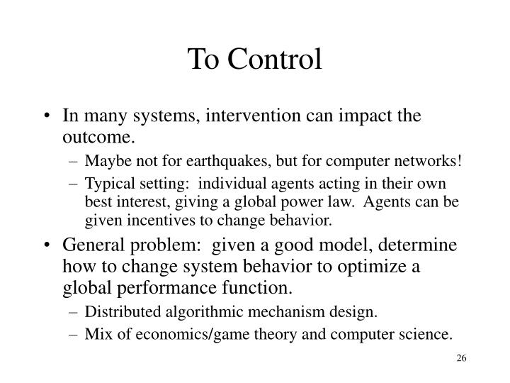 To Control